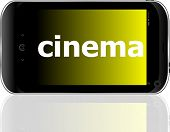Web Development Concept: Smartphone With Word Cinema On Display