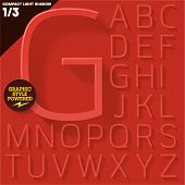 Modern flat alphabet for infographics with long ambient shadow. Compact light. Red Upper case