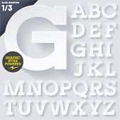 Modern flat alphabet for infographics with long ambient shadow. Slab White Upper case