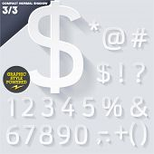 Modern flat alphabet for infographics with long ambient shadow. Compact Medium White