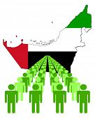 Lines of people with United Arab Emirates map flag vector illustration