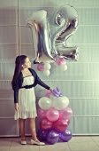 Portrait Of A Bat Mitzvah Girl With Baloons (vintage Processed)