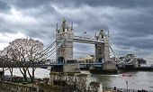 Dramatic View Of The London Tower Bridge