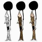 talking wooden stake cartoon illustration