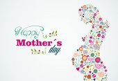 Happy Mothers Silhouette Pregnant Woman Illustration