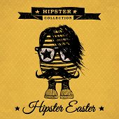 Hipster Easter - Vintage Poster With Egg.