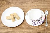 image of shortbread  - Decorative empty coffee cup and shortbread biscuits - JPG
