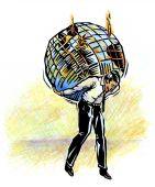 Atlas, or weary man holding up damaged world
