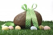 Beautiful Happy Easter Large Chocolate Easter Egg And Small Candy Speckled Eggs On Grass With White