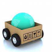 3D Modern Globe In Cardboard Boxes