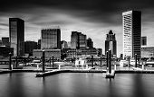 Long Exposure Of Docks And The Skyline At The Inner Harbor, Baltimore, Maryland.
