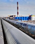 Outdoor Pipeline Near Heat And Power Plant