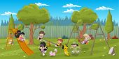 Cute happy cartoon kids playing in playground on the backyard
