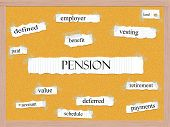 Pension Corkboard Word Concept