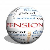foto of employee month  - Pension 3D sphere Word Cloud Concept with great terms such as benefit deferred retirement and more - JPG