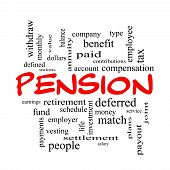 stock photo of employee month  - Pension Word Cloud Concept in red caps with great terms such as benefit deferred retirement and more - JPG