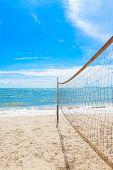 Beach Volleyball Net On The Beach With Blue Sky