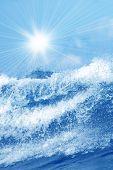 Splash Of Water With Sunrays