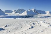 stock photo of crevasse  - View on with pack ice frozen Van Mijenfjorden Spitsbergen - JPG