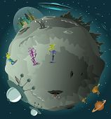 image of meteorite  - Vector illustration of colonization of the planet  - JPG