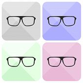 Glasses vector set with black thick holder hipster illustration isolated on white background.
