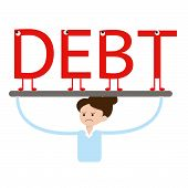 Angry business woman carrying a big load of debt alphabet cartoon
