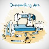 Dressmaking art, sewing tools