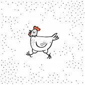 Happy white hen spring holiday Easter time illustration