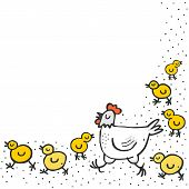 Little yellow chickens with mum white hen spring holiday Easter illustration