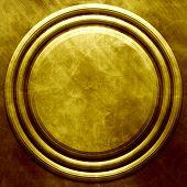 Golden metal round plate. Industrial background