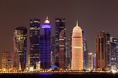 Doha Downtown Skyline At Night