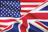 Series Of Ruffled Flags. Usa And United Kingdom.