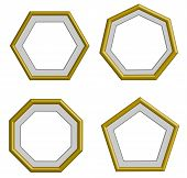 picture of heptagon  - beautiful edge golden frame for collection image picture gallery and decoration vector set - JPG