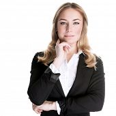 Confident business woman isolated on white background, CEO of great corporate, luxury career, succes