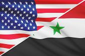 Series Of Ruffled Flags. Usa And Syria.