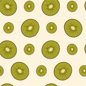 Seamless vector pattern with kiwi slices.