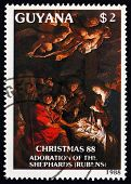Postage Stamp Guyana 1988 Adoration Of The Shepherds, By Rubens