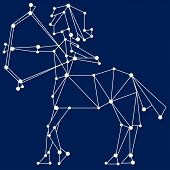stock photo of sagittarius  - Sagittarius zodiac sign scheme on blue background - JPG