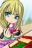 Blonde hair girl eating bento with chopsticks