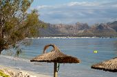 Cane beach umbrella in Pollenca Port. Majorca Spain