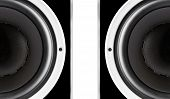 Pair Of Black Audio Speakers Membrane