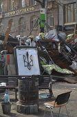 KIEV, UKRAINE -MAR 24, 2014: Downtown of Kiev.Barricades.Rio t in Kiev and Western Ukraine.March 24, 2014 Kiev, Ukraine