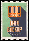 Data Backup on Green in Flat Design.