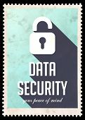 Data Security on Blue in Flat Design.