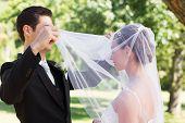 Young loving groom unveiling bride in garden