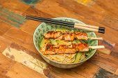 Japanese Salmon Yakitori With Noodles
