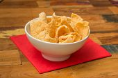 picture of chinese crackers  - Traditional chinese prawn crackers in a white bowl - JPG