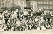 GOCZALKOWICE, POLAND, AUGUST 8, 1981: Vintage photo of group of classmates and teachers posing toget
