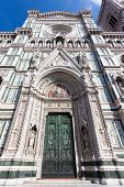 Entrance To The Saint Mary Basilica In Florence.