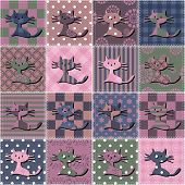patchwork background with cats